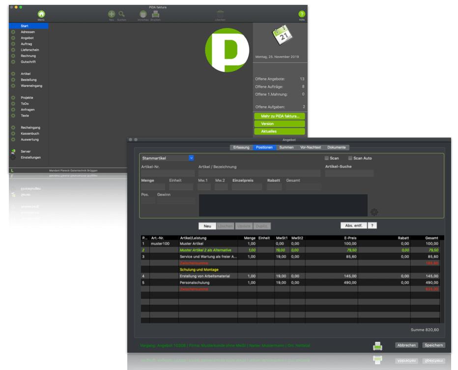 Rechnungssoftware Mac, Dark Mode unter macOS