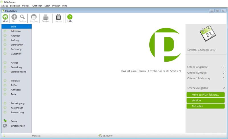 Rechnungssoftware PiDA faktura, auch Windows erhältlich.